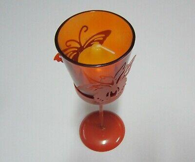 Copa o vaso portavelas con filigrana mariposa naranja con vela, metal y...