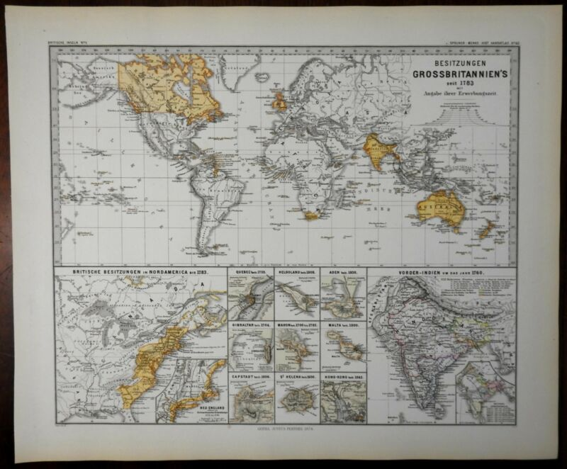 British Empire Colonialism Imperialism world possessions 1877 historical map