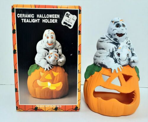 Ceramic Halloween Tealight Candle Holder Ghost & Pumpkin Vintage KMART 209