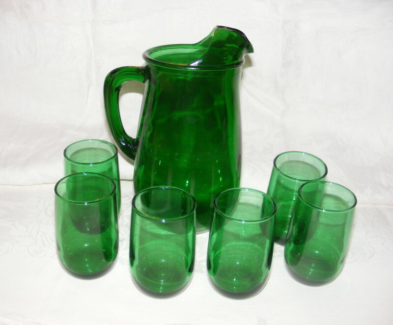 Vintage Anchor Hocking Forest Green Glass Juice Set Pitcher + 6 Tumblers