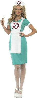 Ladies Emergency Nurse Hospital ER Red Cross Fancy Dress Costume Outfit UK 8-22 - Red Nurse Outfit