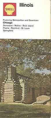 1969 Shell Oil Log Cabin Road Map Illinois Route 66 Chicago Springfield Rockford