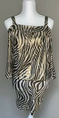 BABY PHAT Authentic Zebra Print Gold Metallic Off The Shoulder Dress Size Small