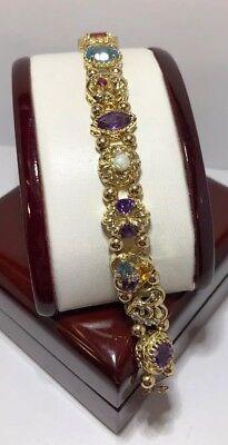 "Vintage 14k Yellow Gold Sapphire Ruby Opal Diamond Heart Slide Bracelet 6 3/4"""