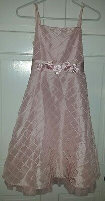 The Childrens Place pink taffeta tulle floral belt ankle length dress. 10