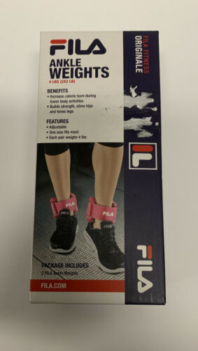 NEW FILA Pink Soft Neoprene Ankle Weights 4 Lb Set Two 2 LB