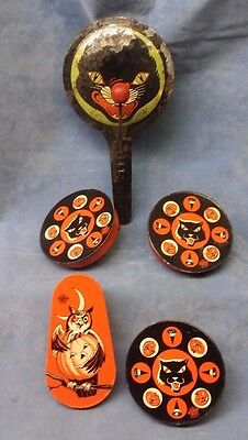 Vintage Halloween Tin Litho Noise Makers, US Metal Toy Co, Vintage Halloween