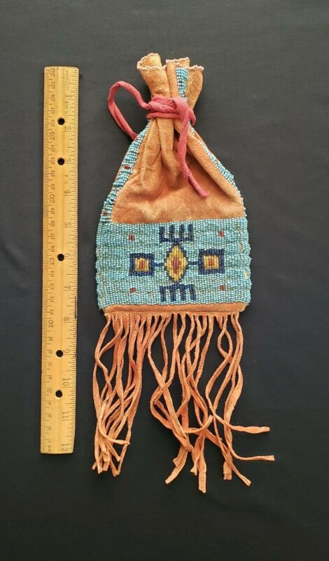 NATIVE AMERICAN, SIOUX INDIAN,  HIDE TOBACCO BAG,  BEADED BAG from Collection