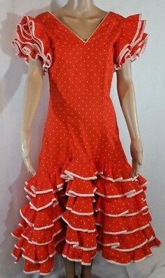 Paso Doble Spanish Dress SPAIN Orange&White Ruffles Vtg Authentic Size S/M Rare - Paso Doble Kostüm