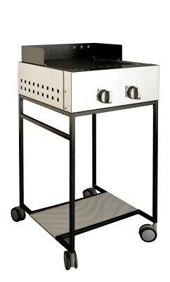 Barbecue a gas acciaio inox AISI 304 con carrello, piastra in pietra...