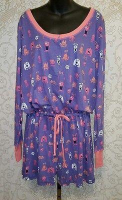 Nite Nite Munki Munki Purple W/Monster Print Onsies Romper Pajamas Sz XXL #2284](Monster Onsie)