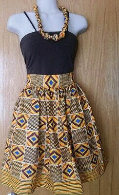 New Kente African Print Women Skirt w/ Two Pocket, Necklace  Sz M - L