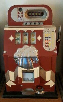 Mills 1938 Bonus Bell Horse Head 5-Cent Slot Machine (Restored) Original Back.