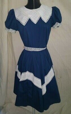 Partners Please Blue Fun Square Dancing Costume Dress White Collars Belt Trim - Costume Partners