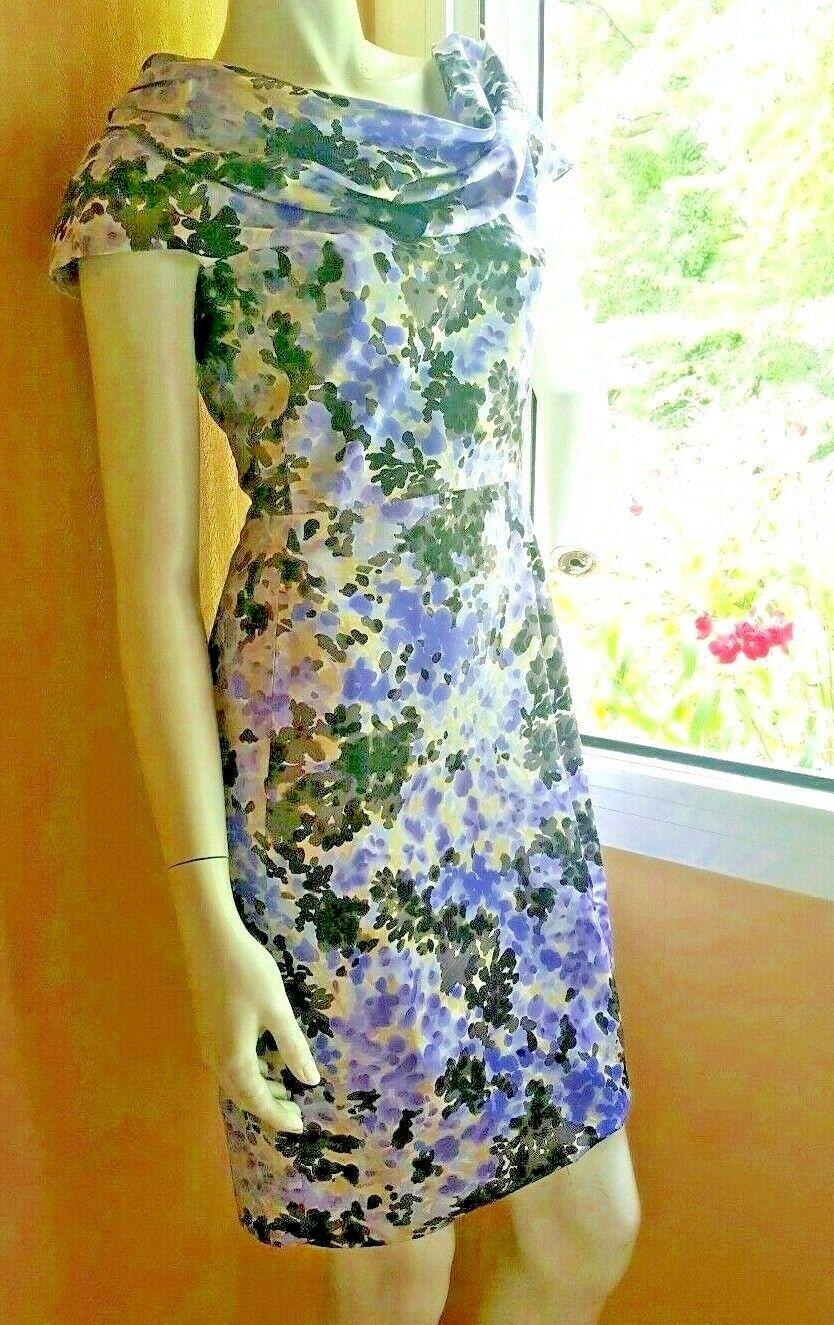 Vintage dress robe sexy christian dior imprimée floral soie silk s m 36 38