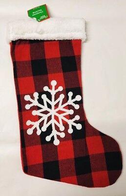 Buffalo Check Red Plaid Snowflake Christmas Holiday Stocking Gift Home Decor (Plaid Christmas Stocking)