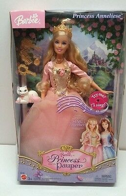 BARBIE DOLL PRINCESS AND THE PAUPER CAT 2004 Mattel ANNELIESE SINGS With Box.