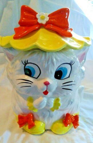 VINTAGE MISS KITTY YELLOW HAT COOKIE JAR