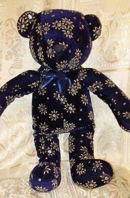 Tedy Bears (SUGAR LOAF Navy Velvt Velour Tedy Bear Yello Floral Plush Stufd Animal Toy)