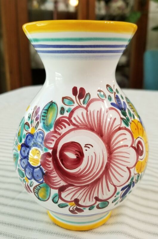 Italian Style Pottery Ceramic Vase White with Multicolored Flowers Marked