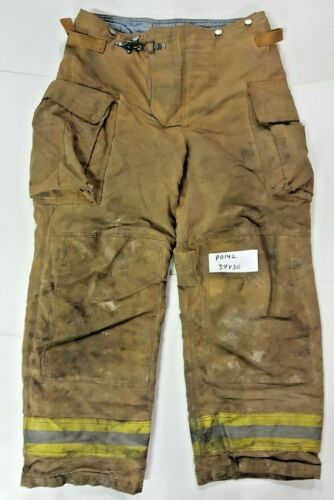 34X30 Brown Securitex Firefighter Turnout Bunker Pants w/ Yellow Refl Tape P0142