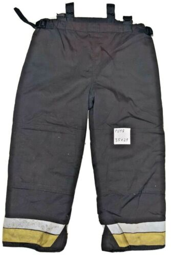 35x29 Bristol Black Firefighter Turnout Pants with Combined Liner P1198