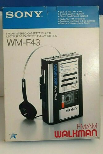Vintage SONY Walkman WM-F43 FM/AM Stereo Cassette Player in Original Box RARE