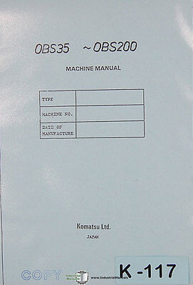 Komatsu OBS35-OBS200, Press Operation Maintenance Electrical & Parts Manual 1991