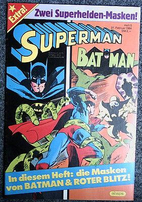 SUPERMAN # 5/1984 mit Beilage - BATMAN + ROTER BLITZ MASKEN - Top Zustand 0-/0-1