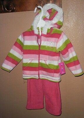 2PC GIRLS FLEECE PENNY M HOODED JACKET PANTS SET STRIPED HEART EMBROIDERED 12MTH (Embroidered Fleece Pant Set)