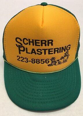 Vtg Scherr Plastering Hat Bismarck ND Green Yellow North Dakota Cap Contractor