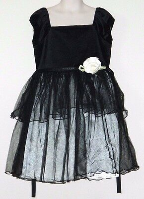 Girls Size 6X Black Dress With Ivory Skirt And Flower By George  - Flower Girl Dresses Black And Ivory