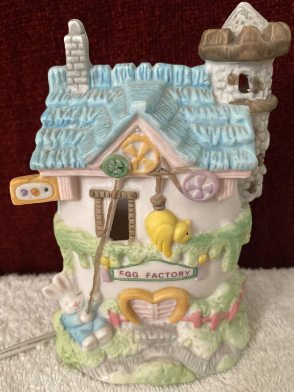 Vintage Bunny Towne Hand Painted Porcelain Easter House Figurine EGG FACTORY
