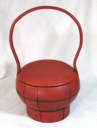 Antique Chinese Red Lacquer Basket Food Container Circa 1890 - Ming style