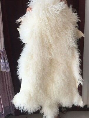 White MONGOLIAN FUR RUG THROW TIBETAN LAMBSKIN FUR HIDE PELT CURLY HAIR CARPET