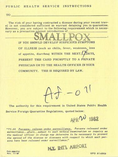 VINTAGE 1962 NY INTERNATIONAL AIRPORT SMALLPOX EXPOSURE WARNING DEPT. OF HEW