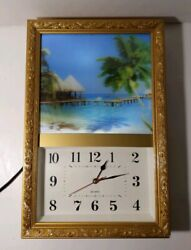 Vintage Retro Lighted Gold Wall Clock - Motion Picture/Sound Beach/Ocean Waves