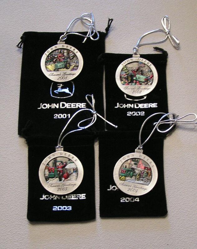 New 2001-2002-2003-2004 John Deere Pewter Ornament - Set 4 Different Ones