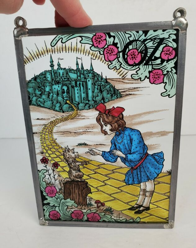 VTG Wizard of Oz Stained Glass Suncatcher 1960s Toto Dorothy Yellow Brick Road