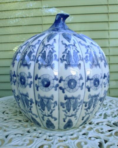Vintage Blue & White Large Chinese Porcelain Pumpkin Ginger Jar