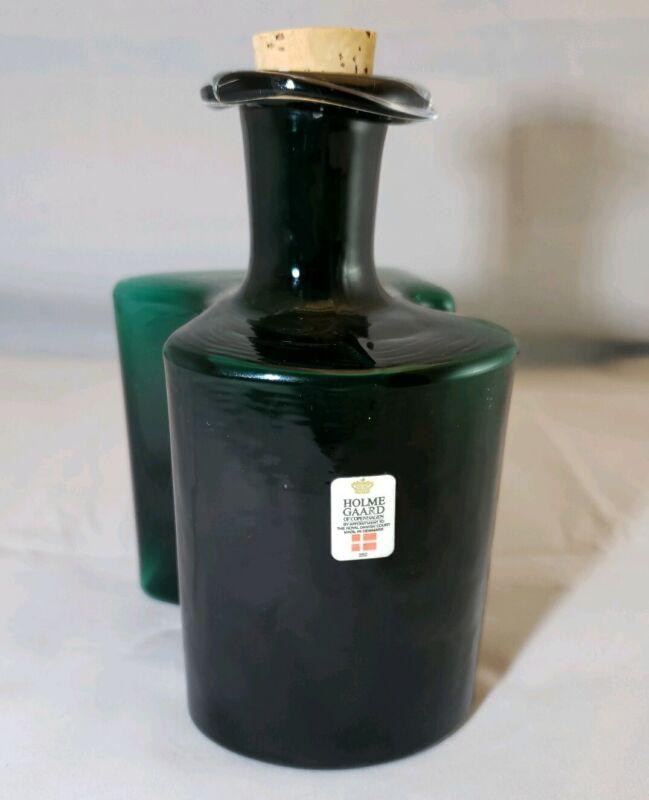 Holmegaard Dram bottle.Dark green.1970
