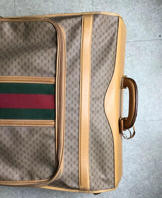 RARE VINTAGE GUCCI folding GARMENT BAGmonogram canvas & Leather with stripes