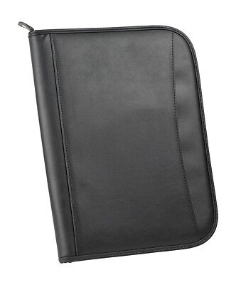 Business Zippered Folder Padfolio Binder Organizer W Notepad Leatherette Black