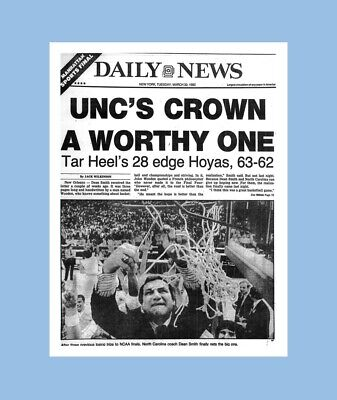 1982 Tar Heels - UNC TAR HEELS 1982 NCAA CHAMPS MATTED PHOTO OF CHAMPIONSHIP NEWSPAPER FRONT PAGE