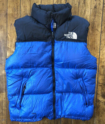 North Face Blue Black 700 Down Filled Stow Pocket Full Zip Puffy Vest Men's Sz M