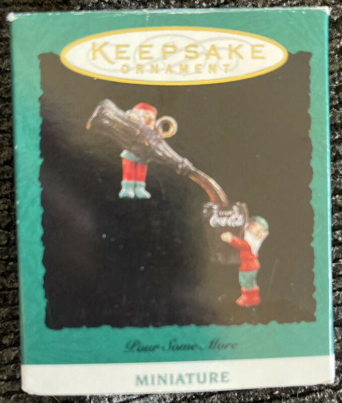 """1993 """"Pour Some More"""" Hallmark Miniature Ornament New"""