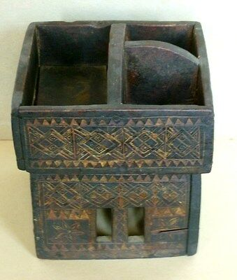 Betel Nut Box Server Hand Made In Wood Thailand Antique Circa 1900