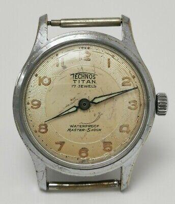 Vtg 1958 Technos Titan Master Shock 17J Mechanical Gents Wrist Watch ETA 1080