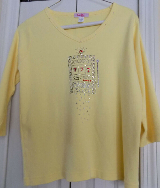 Rhinestone Embellished Sparkly Casino Slots 3/4 Sleeve T-Shirt Sz. S Top