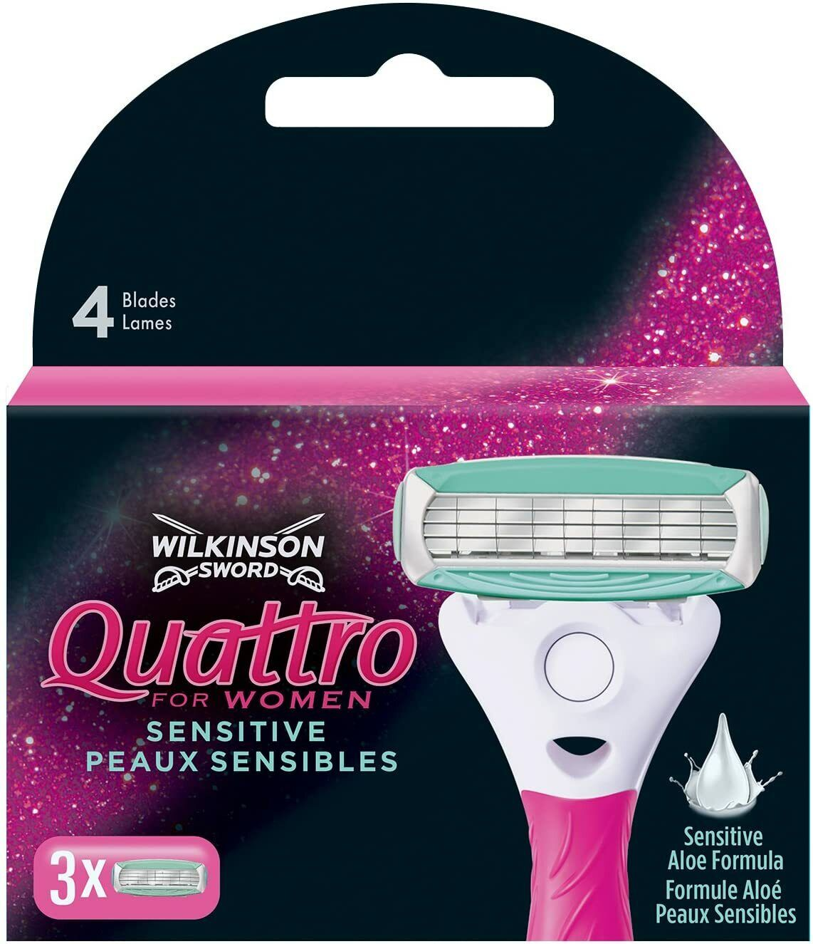 Wilkinson Quattro for women Sensitive Rasierklingen 12 Stück